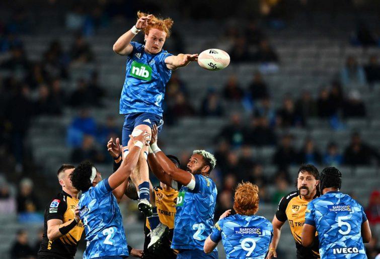 Tom Robinson of the Blues wins lineout ball