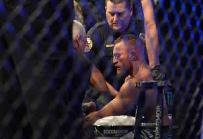 McGregor suffers brutal broken leg in UFC grudge match, Aussie fighter shines