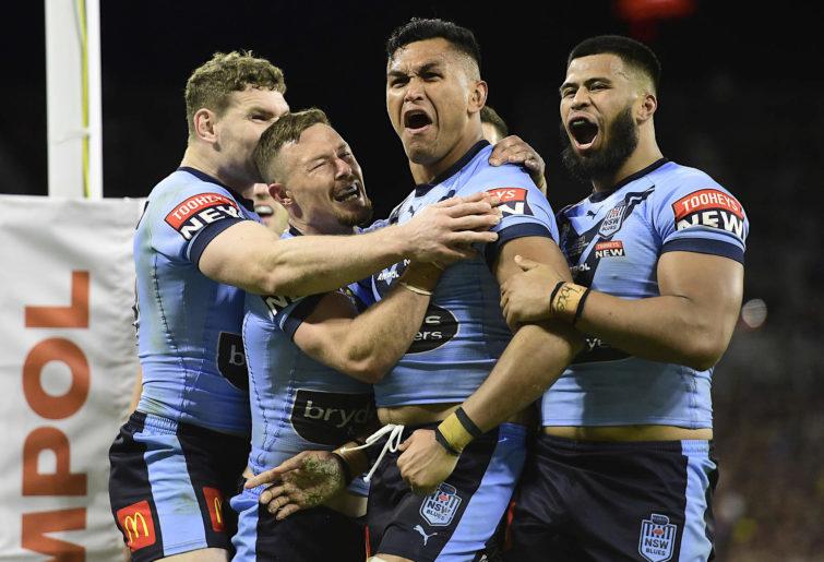 Daniel Saifiti celebrates a try for NSW