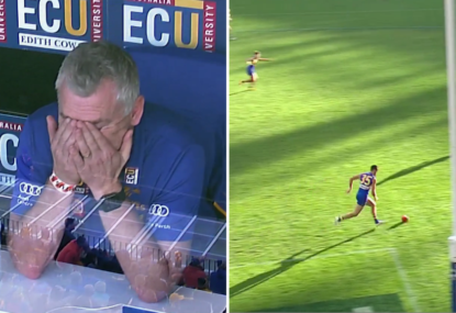 Adam Simpson cannot believe the massive howler made by one of his defenders