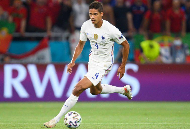 Raphael Varane of France plays the ball.