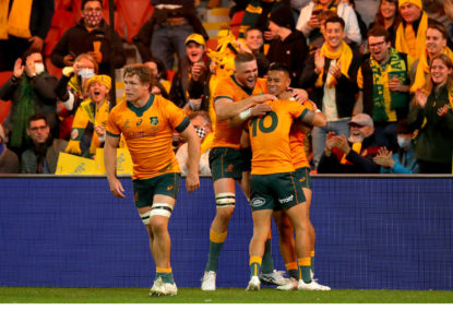 Noah Lolesio of the Wallabies celebrates his try during the International Test Match between the Wallabies and France at Suncorp Stadium.