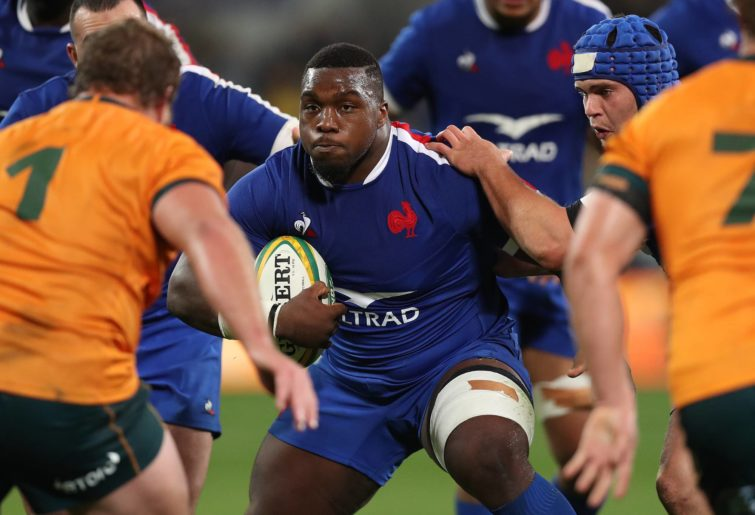Demba Bamba takes the ball up against the Wallabies