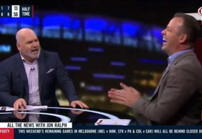 On-air hysterics as Chief trades banter with Brad Johnson after Cats' staging accusations