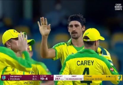 A devastating spell from Mitchell Starc tears through West Indies top order