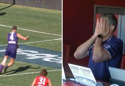Big Docker's hilarious 'ruckman moment' leaves coach pondering a career change