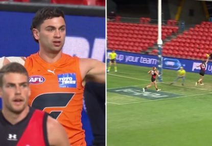 Tim Taranto in disbelief the goal umpire didn't check his very close shot on goal