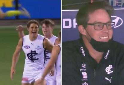 WATCH: Beautiful scenes as Charlie Curnow kicks ripping first AFL goal in two years