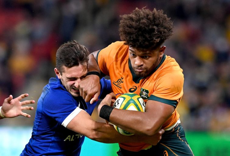 Wallabies player Rob Valetini in action