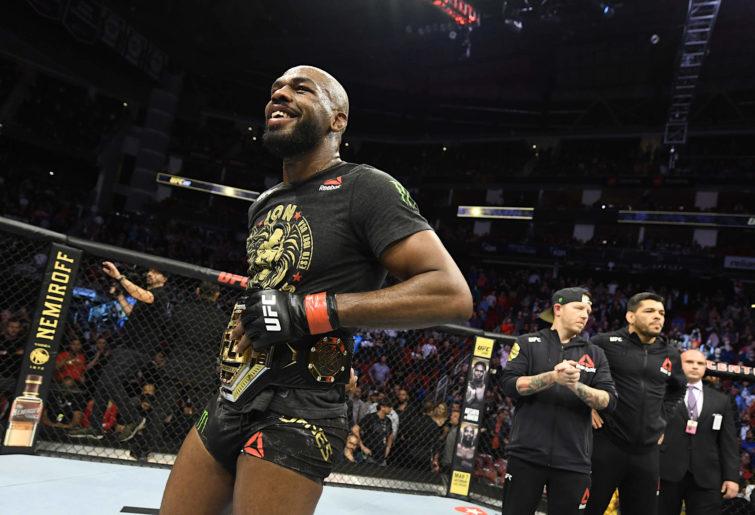 Jon Jones celebrates his victory at UFC 247