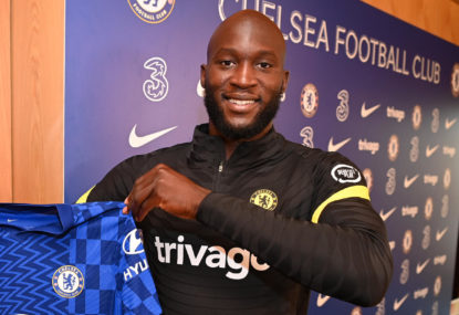 Romelu Lukaku of Chelsea during his unveiling as a Chelsea player