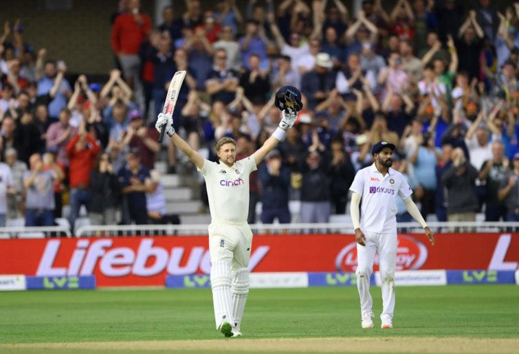 Joe Root celebrates a Test ton against India at Trent Bridge
