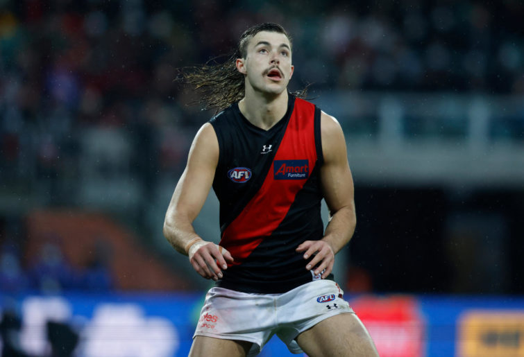 Sam Draper of the Bombers in action