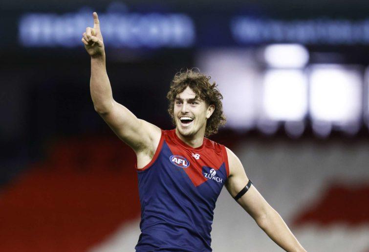 Luke Jackson of the Demons celebrates a goal