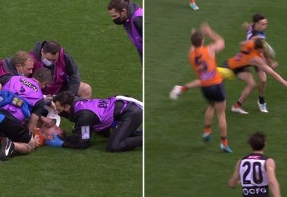 Worrying scenes as Jacob Hopper cops boot to the head at full force