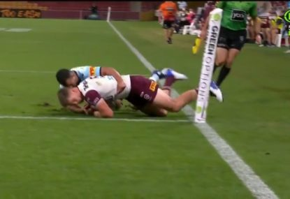 Sharks pull off two impressive try-savers within minutes of each other