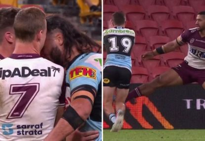 The sin bin gets a workout as the Sharks and Manly players bring out old-fashioned dirty tactics