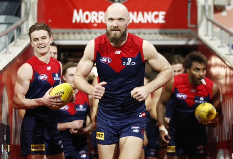 Max Gawn leads the Melbourne Demons out