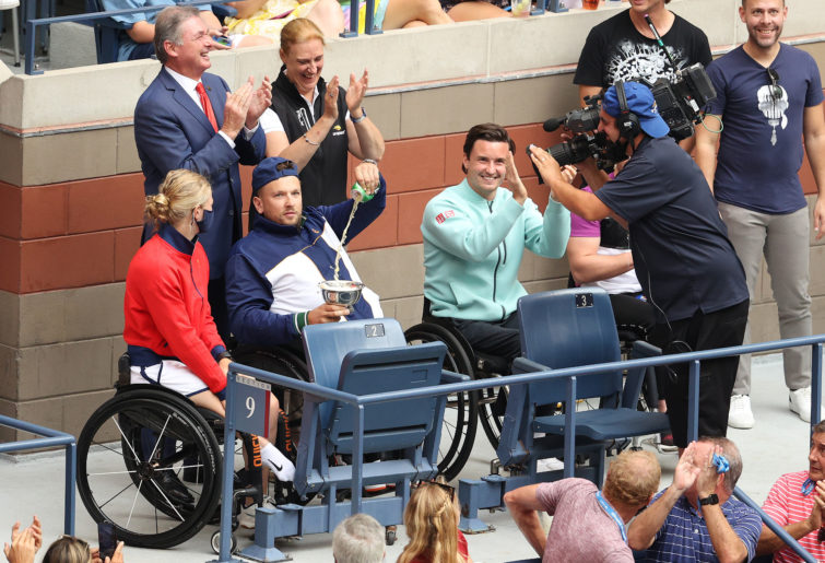 Dylan Alcott celebrates completing the 'Golden Slam' with victory in the US Open final.
