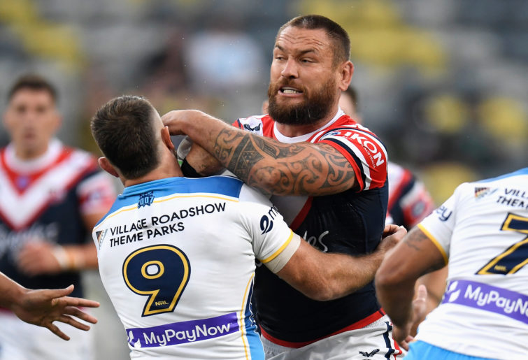 Jared Waerea-Hargreaves of the Roosters is tackled during the NRL Elimination Final match between Sydney Roosters and Gold Coast Titans.