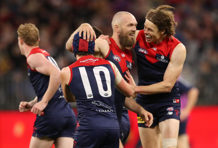 Max Gawn of the Demons celebrates after scoring a goal