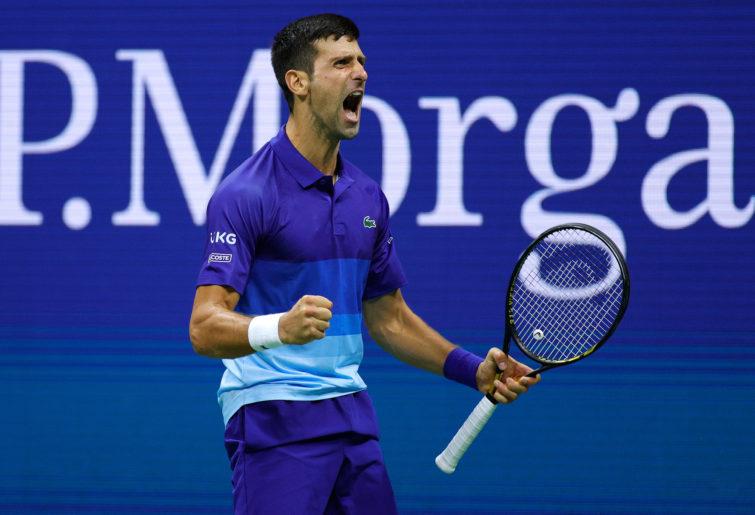 Novak Djokovic reacts as he defeats Alexander Zverev in the US Open semi-final.