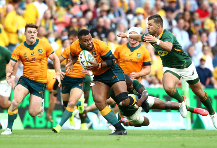 Samu Kerevi of the Wallabies makes a break during The Rugby Championship