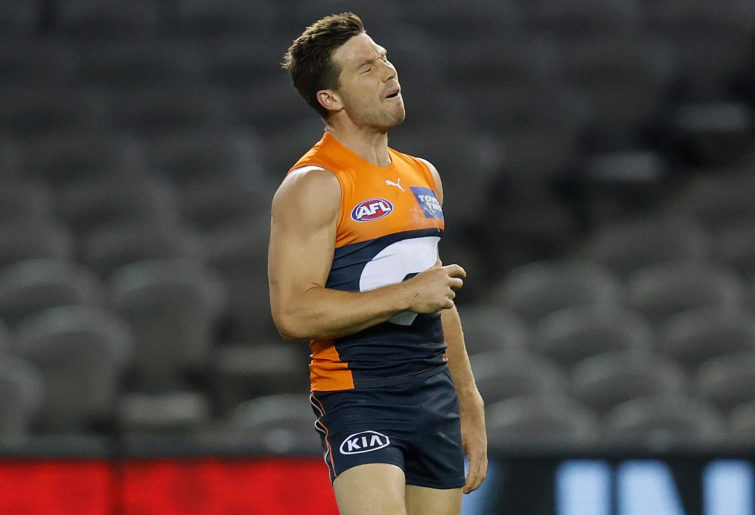 Toby Greene of the Giants rues a missed shot on goal