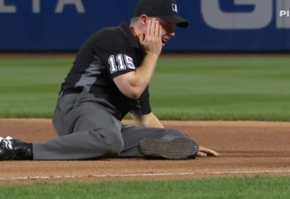 Ouch! Baseball umpire floored by wild throw to the side of the face at full force