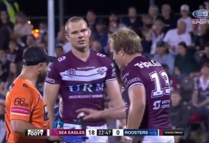 Tom Trbojevic gives his brother a spray after costing Manly a try