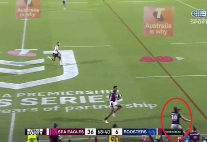 Everyone loses it as Jason Saab and Marty Taupau produce one of the year's funniest moments