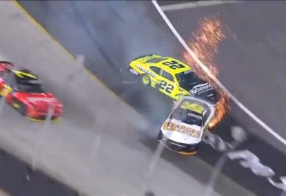 Bonkers finish to NASCAR race with winner lucky to still maintain control over the line