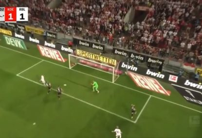 Cologne player has an early contender for howler of the Bundesliga season after missed tap-in