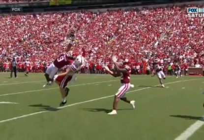 Oklahoma college footballer stuns with the most insane interception that has to be seen to be believed
