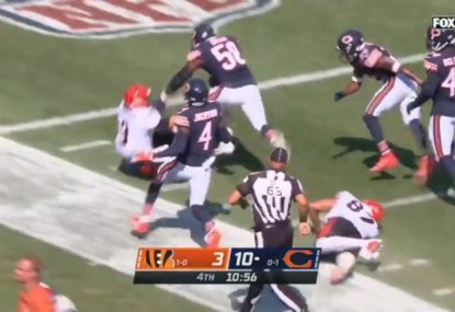 Bengals quarterback throws three-straight interceptions, gets swatted aside trying to make amends