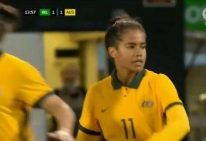 WATCH: A Mary Fowler double not enough as Matildas go down to Ireland