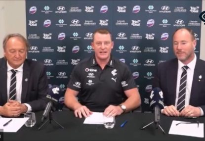 WATCH: Michael Voss isn't ruling out immediate finals after being named Carlton coach