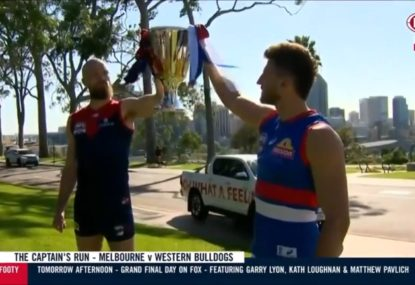 WATCH: Premiership cup superstition gives Dogs the first win of grand final build-up