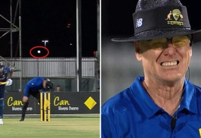 Aussie ump cops ribbing from everyone after injuring himself evading straight drive