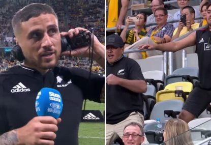 Touching moment as TJ Perenara stops mid-interview to pay respects to impromptu crowd Haka