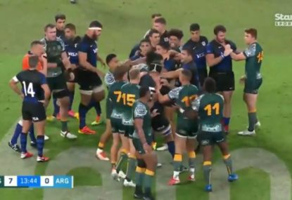 Referee's patience tested after early dust-up in fiery start to Rugby Championship clash