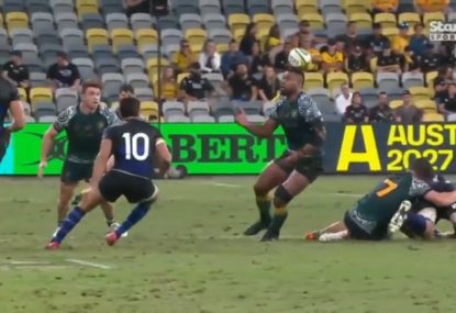 Andrew Mehrtens' cheeky sledge after a Samu Kerevi party trick during intercept attempt