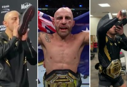 Alexander Volkanovski not satisfied with just a shoey as he puts even more of an Aussie twist on it