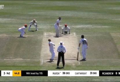 WATCH: Lloyd Pope somehow gets Shaun Marsh out with the biggest pie you'll see