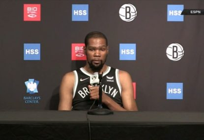 Kevin Durant not very impressed after being trolled by comedian David Letterman at press conference