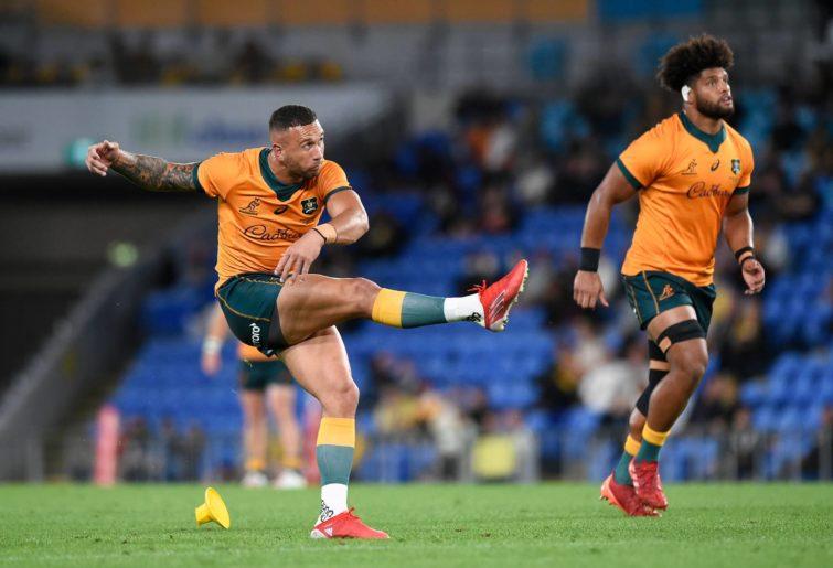Quade Cooper kicks a goal against South Africa