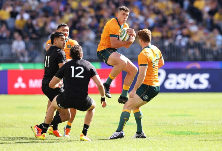 Tom Banks takes the ball for the Wallabies in Perth