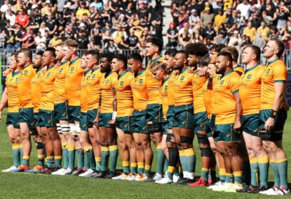Wallabies sing the national anthem in Perth
