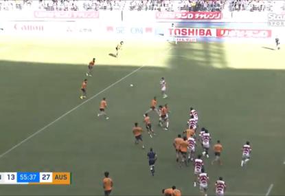 Wallabies prove even a 14-man Japan could score an intercept try against them