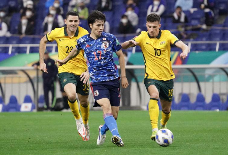Tom Rogic and Ajdin Hrustic pressure Ao Tanaka